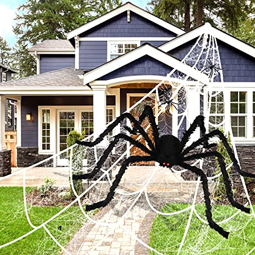 """Halloween Decorations Outdoor 200"""" Huge Triangle Spider Web + 60"""" Scary Giant Spider + 20g Stretch Cobwebs Halloween Decor for Outside Yard Garden Lawn Party"""