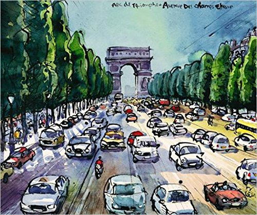 Posters: Michael Leu Poster Art Print - Arc De Triomphe + Avenue Des Cha (24 x 20 inches)