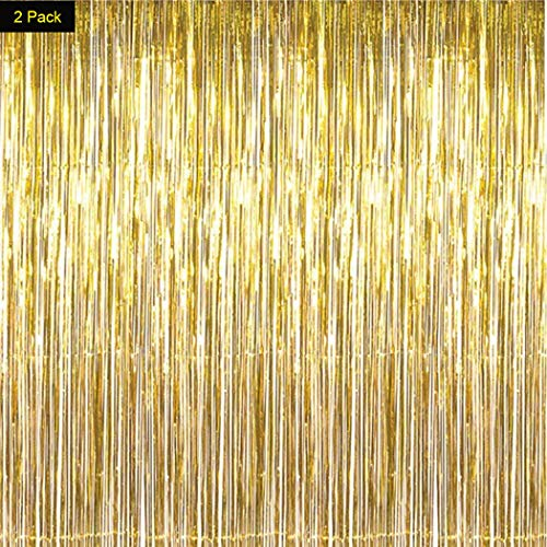 Asunflower 2 Pack Gold Metallic Tinsel Foil Fringe Curtains for Party Photo Backdrop Wedding Decor - 6.5Ft in Drop