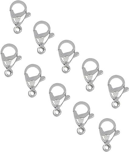 UNICRAFTALE 60 Uds 304 Cierres de Garra de Langosta de Acero Inoxidable Tonos Plateados Gancho de Sujeci/ón de Joyer/ía 1mm Agujero Broche de Garra Cierres de Gatillo