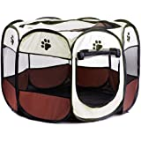 Folding Fabric Pet Play Pen Puppy Dog Cat Rabbit Guinea Pig Playpen Run Cage 8-Side Foldable Pop Up Tent Portable Durable (S, Brown)