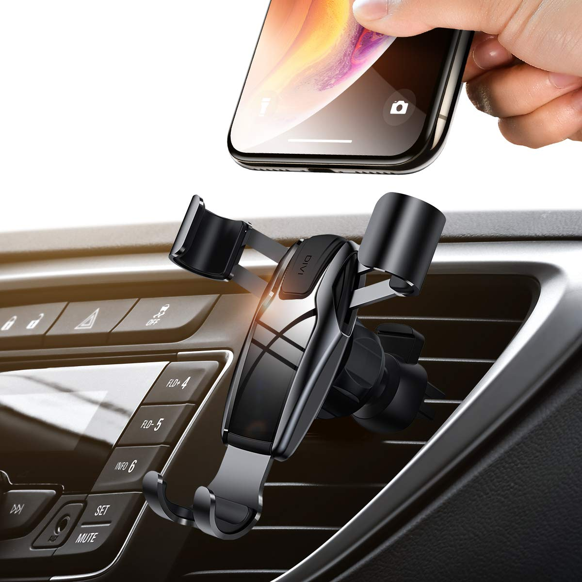 AINOPE Cell Phone Holder for Car, Gravity Car Phone Mount Auto-Clamping Air Vent Car Phone Holder Universal Car Phone Mount Compatible iPhone Xs MAX/X/XR/8/7, Galaxy Note 9/S10 Plus/S9 - Silver by AINOPE
