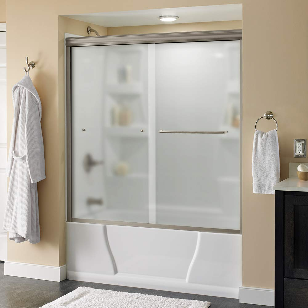 Nickel Track Delta Shower Doors SD3927434 Classic Semi-Frameless Contemporary Sliding Bathtub 60 x58-3//4