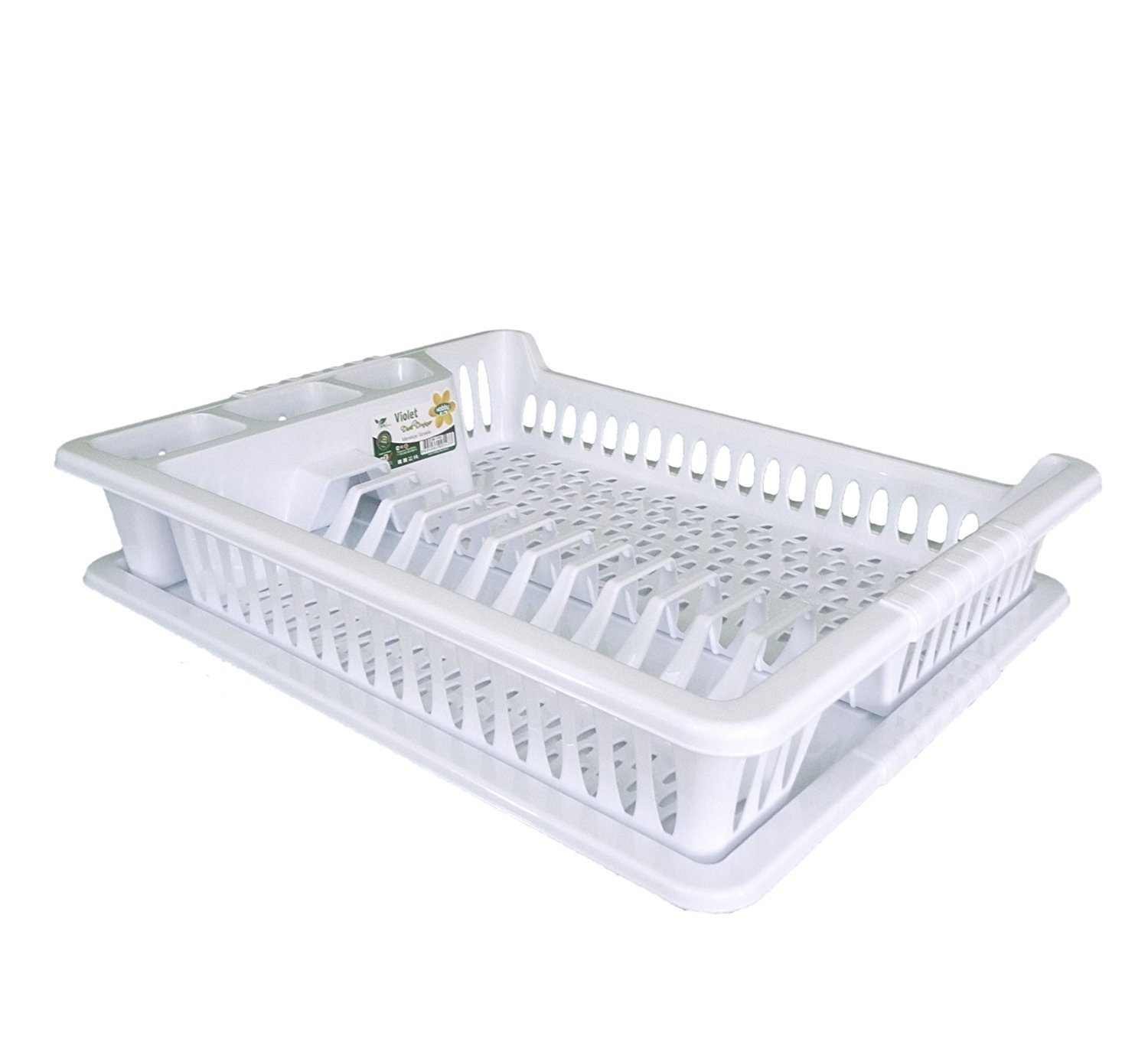 White with Grey Fleck Hobby Large Plastic Dish Drainer Plate and Cutlery Rack with Drip Tray