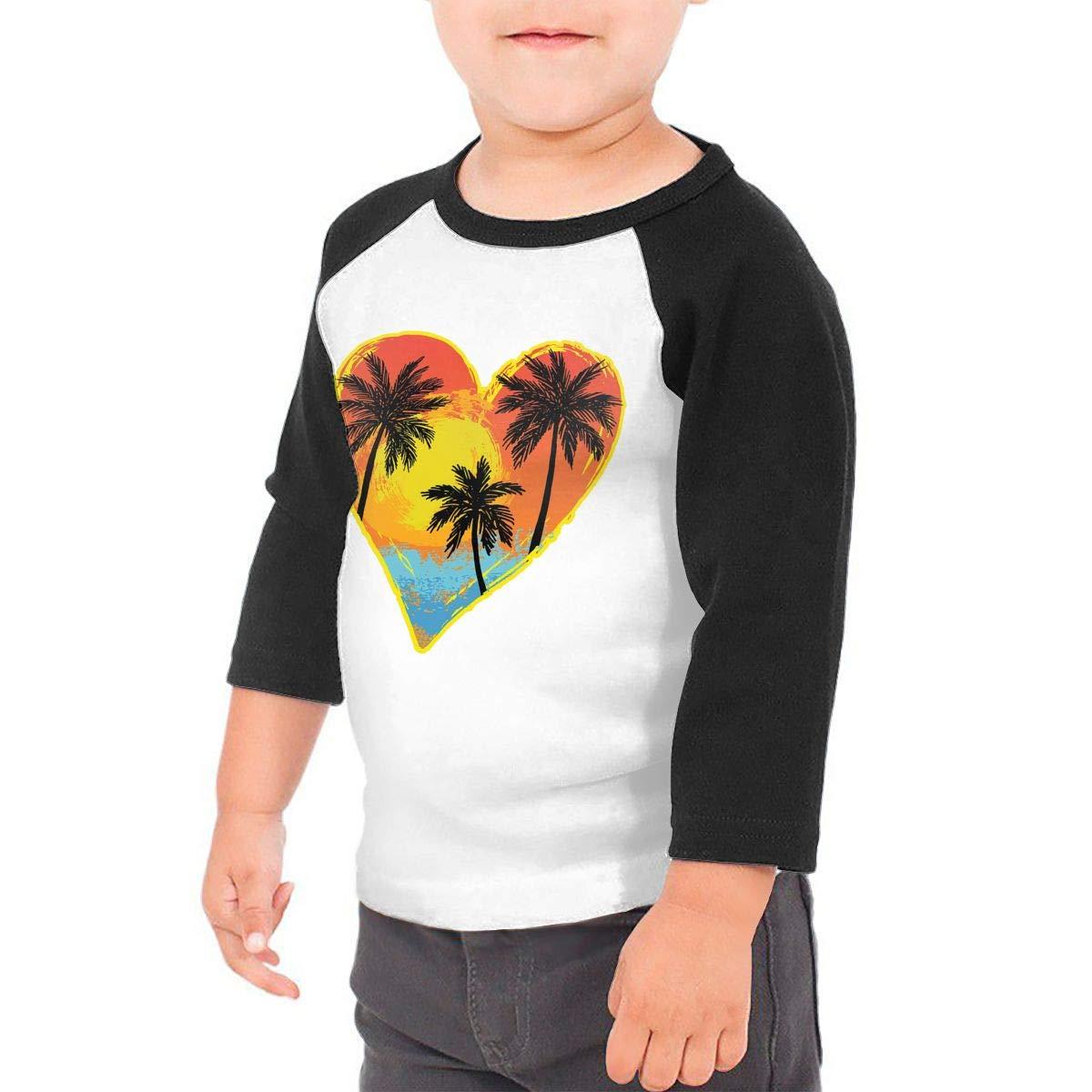 Yimo Beach Palm Tree Heart Unisex Toddler Baseball Jersey Contrast 3//4 Sleeves Tee