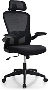 ALPHA HOME Ergonomic Office Chair Mid Back Computer Desk Chair with Flip-up Tufted Armrest Executive Adjustable Chair with Lumbar Support & Headrest Breathable Mesh Rolling Swivel Chair with Casters