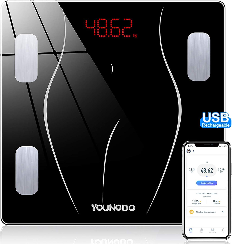 YOUNGDO Báscula de Baño - 30 * 30cm, 23 Medidas Corporales con App, USB Recargable, Balanza Bluetooth Digital, Báscula Inteligente Báscula Grasa ...