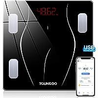 YOUNGDO Báscula de Baño - 30 * 30cm, 23 Medidas Corporales con App, USB…