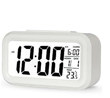 Hausger Reloj despertador digital, con pantalla LED grande, con luz nocturna - Blanco: Amazon.es: Hogar