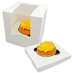 [36 Boxes and 36 Trays Pack] 4.5x4.5x4.5 Inches White Cupcake Box with Window and Single Insert - Holds 1 Muffin, Auto-Popup Cardboard, Bakery Container, Gift Packaging and Party Favors