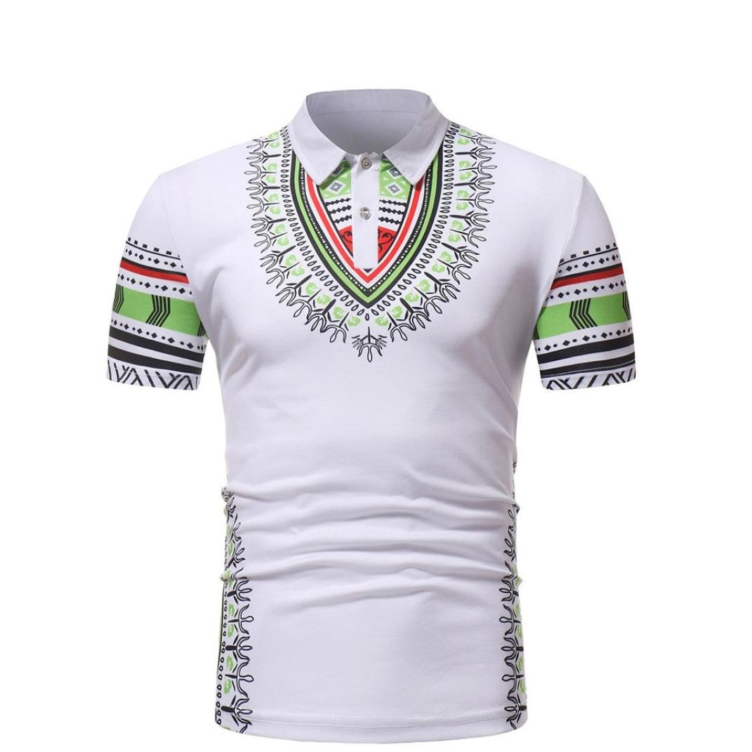 UPLOTER Men's Short Sleeve African Dashiki Graphic Hipster Hip Hop Curved Hem T-Shirt