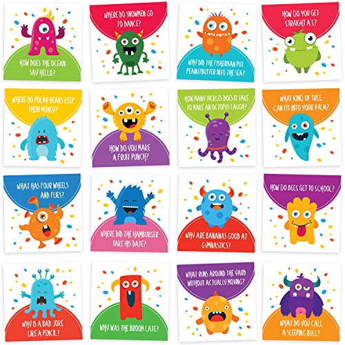 Lunch Box Jokes for Kids - 60 Cute Inspirational and Motivational Thinking of You Notes Cards for Boys & Girls Lunchbox