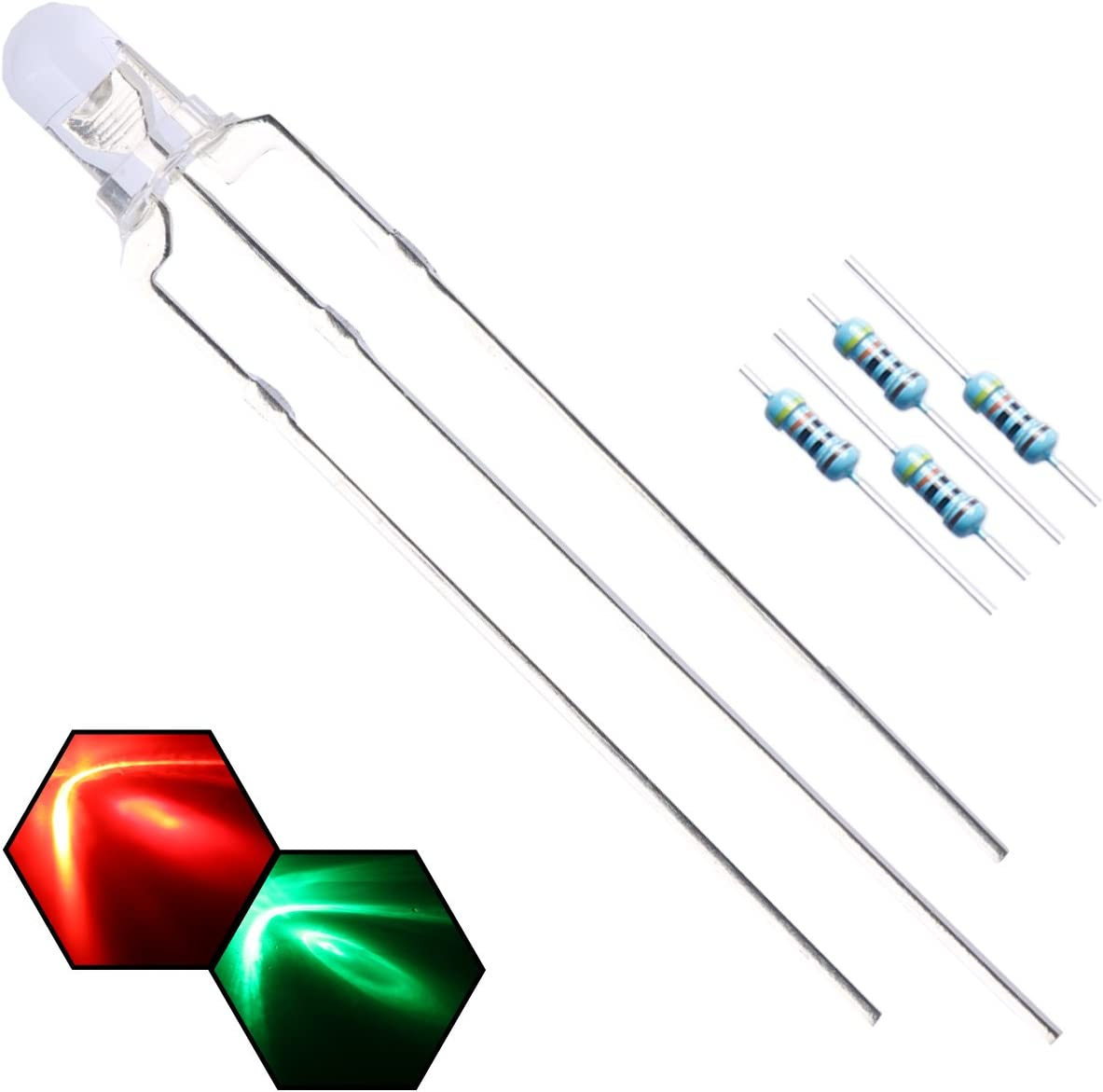 Color: Fog Type Anode Laliva 100PCS 3MM LED Common anode Red /& Green light emitting diode F3 led Common cathode 3pin 3P Transparent//Fog positive negative