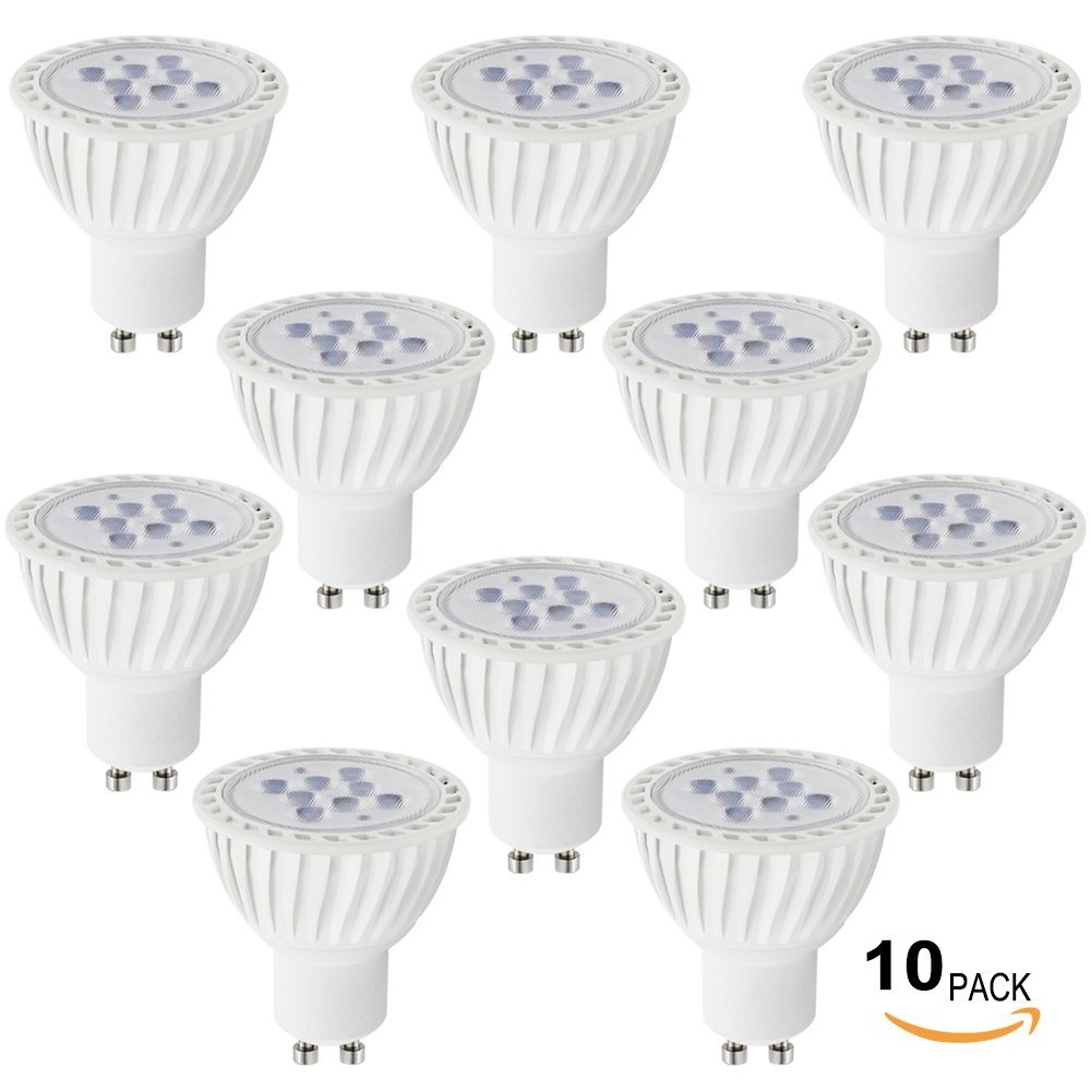 10 PACK UL-listed 7W (60W Equivalent) GU10 LED Light Bulb 5000K Daylight, 500lm, 36 Degree GU10 Base Spotlight bulb for Recessed, Accent, Track and Landscape Lighting, Non-Dimmable