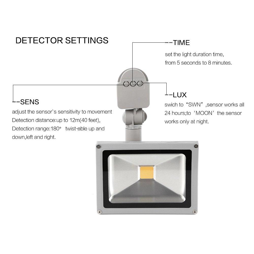 WHDZ LED Focos de exterior Sensor de movimiento de luz de inundación con PIR 20W Super brillante seguridad exterior luz 110V & 120V impermeable inundación ...
