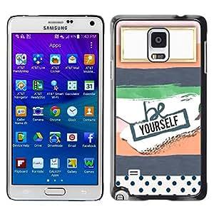 TopCaseStore / la caja del caucho duro de la cubierta de protección de la piel - Notebook Name Here Label Empty - Samsung Galaxy Note 4 SM-N910