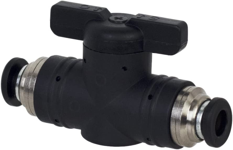 "PneumaticPlus BUC Series Push To Connect Straight Union Ball Valve (1/4"" OD X 1/4"" OD Tube)"