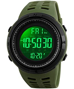 Fanmis Mens Digital LED Sports Watch Military Multifunction 12H/24H Time Dual Time Alarm Countdown Back Light with Simple Design 164FT 50M Water Resistant Calendar Month Date Day Watch (Green)