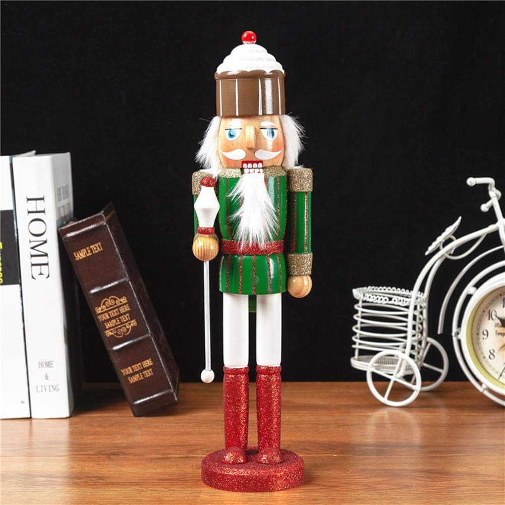 atteryhui Nutcracker Christmas Decorations,38CM 2PCS//Set Large Christmas Nutcracker Soldier King 100 Wooden Puppet Ornaments Doll Toys New Year Gifts For Childrens Kid Room Home positive