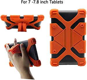 "CHINFAI Universal 7 inch Tablet Case Shockproof Silicone Stand Cover for All Versions RCA Voyager Vankyo Yuntab Samsung Google Nexus MatrixPad Z1 Huawei 7"" Android Tablet and More, Orange"