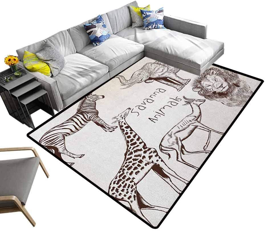 "Safari Area Rug Collection of Tropic Wild Savannah Animals Lion Giraffe Zebra Graphic Carpet for Bedroom Cream Brown (6'6""x8')"