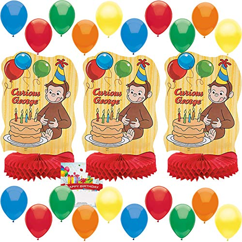 Curious George Party Supplies Birthday Table Centerpiece Room Decoration Balloon Bundle -