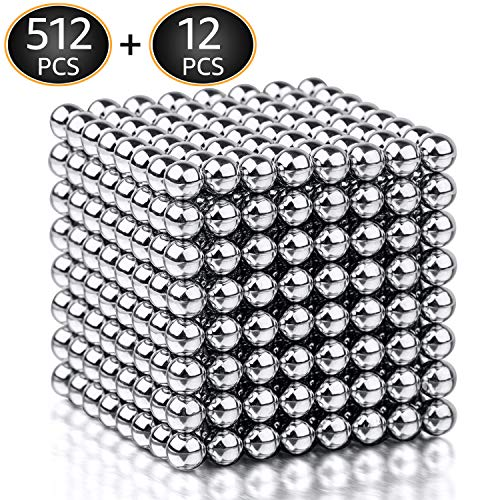 BARIHO Magnet Balls Desk Toys, 5MM Magnetic Sculpture Building Blocks Buckyballs for Intelligence, Stress Relief & Gift for Adults, Children and Christmas(512+12 Pcs)