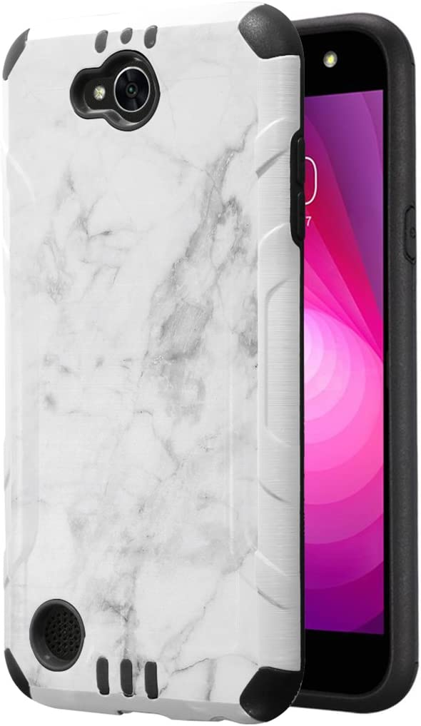 Capsule Case Compatible with LG Fiesta 2 (L163BL), LG X Power 2 (M320), LG X Charge (M322), Fiesta LTE, K10 Power, LS7 4G LTE [Dual Layer Slim Combat Case White] - (White Marble Print)