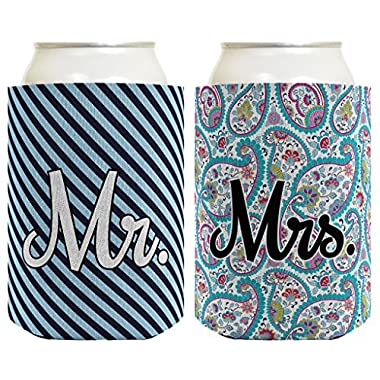 Wedding Coolie Mr Mrs Paisley Stripe Bridal Shower Bachelorette Party Gift 2 Pack Can Coolie Drink Coolers Coolies Premium Full Color
