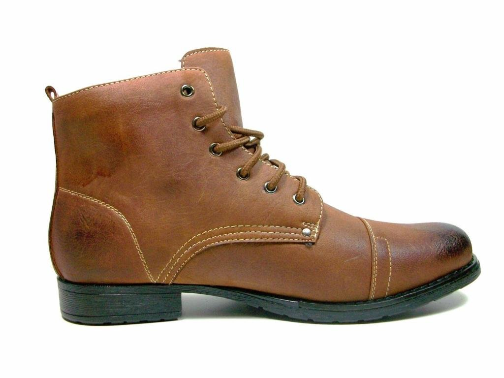 Polar Fox Mens 537-Brown Ankle High Military Combat Boots