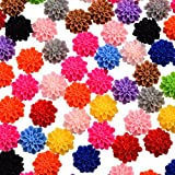 (US) 100 Pcs Cabochon Resin Flowers Embellishments Cabochons Scrapbooking Flatback For Beaded Curtains Decoration home Decoration And Other 14mm