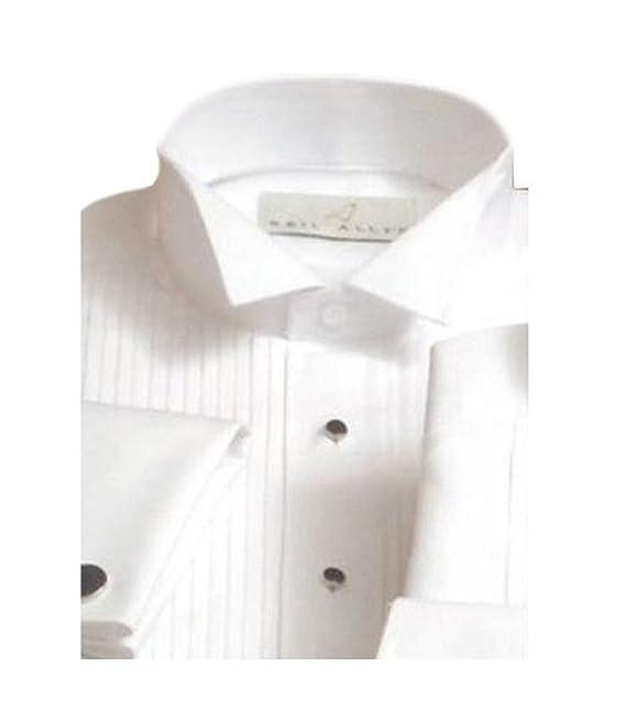 eb0b2c42bed Neil Allyn Men s Tuxedo Shirt Poly Cotton Wing Collar 1 4 Inch Pleat ...