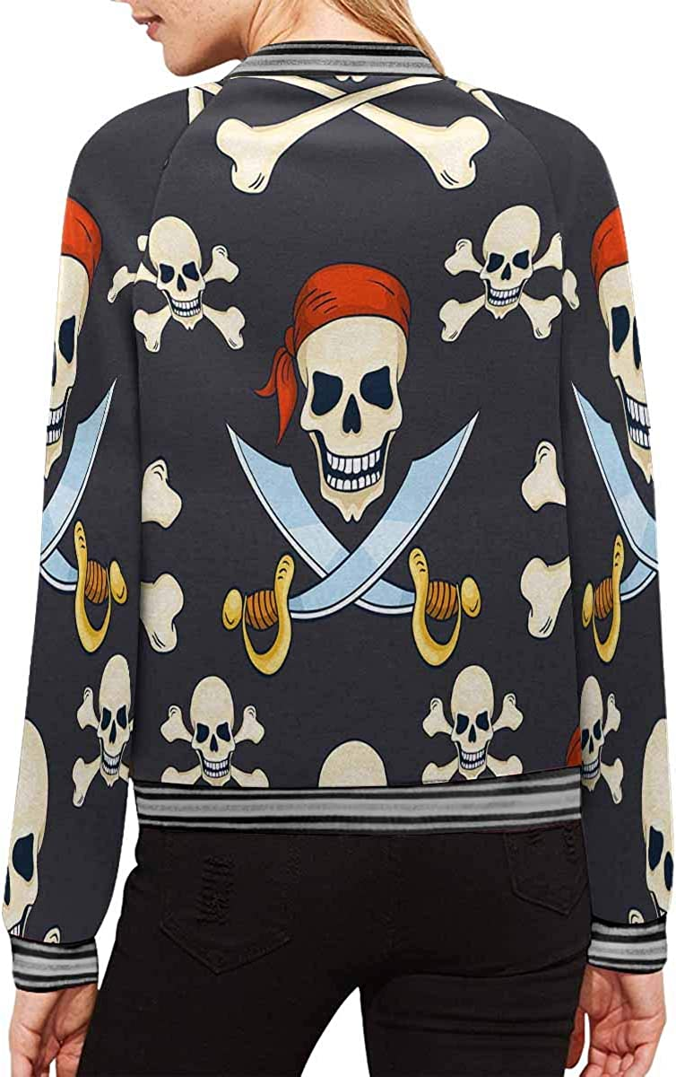 INTERESTPRINT Womens Pirate Skulls Stand Collar Long Sleeve Jacket