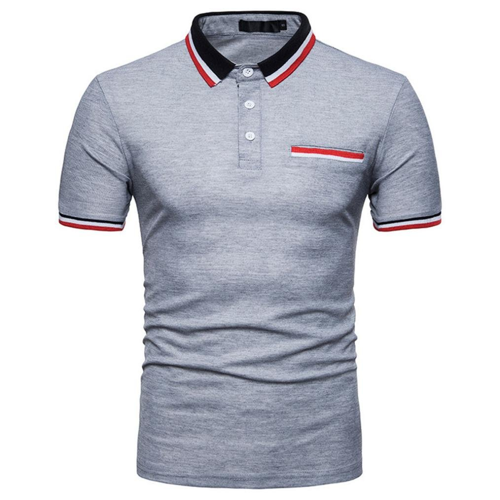 kaifongfu Shirt, Personality Mens Lapel Polo Shirt Casual Slim Short Sleeve T Shirt Top Blouse at Amazon Mens Clothing store: