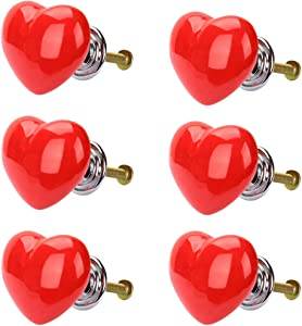 uxcell 6pcs Ceramic Knobs Drawer Heart Shaped Pull Handle Furniture Door Cabinet Cupboard Wardrobe Dresser Replacement Red