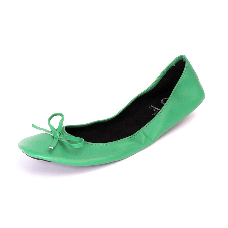 Chaussures Ballerines couleurs femme pliables avec ruban en mat vert couleurs Ballerines 89dd2e