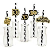 Dusenly 36pcs 30e verjaardag papier rietjes zwart goud 30e verjaardag partij gestreepte decoratieve rietjes…