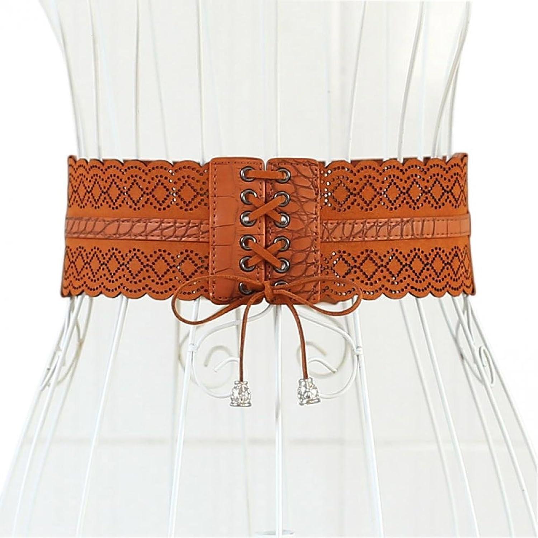 Renaissance Lady's Tied Brown Wide Waist Elastic Lace Up Belt