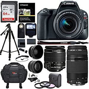 Canon EOS Rebel SL2 DSLR Camera with EF-S 18-55mm STM Lens, Lexar Professional 633x 64GB, Manfrotto Compact Light Aluminum Tripod and Accessory Bundle