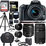 Canon EOS Rebel SL2 DSLR Camera, EF-S 18-55mm STM, Canon EF 75-300mm Telephoto Lens, 64GB Memory Card, Telephoto, Wide Angle Lens, Filter Kit and Accessory Bundle