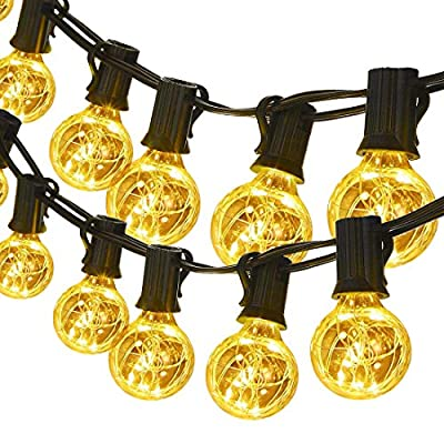 G40 Globe String Lights, 30 LED Bulbs 32.8ft Indoor/Outdoor String Lights Linkable Waterproof for Patio Party Wedding Gazebo Backyard Bedroom Decor, Warm White - 32.8ft/10m long total, 24.6ft/7.5m can be coiled around the tree or hung on the wall in any shape; Adapter with 8.2ft/2.5m lead wire; 9.8inch/0.25m long between each bulb. Total 30 led bulbs, C7/E12 lamp base. We packed an extra bulb for free replacement. Energy saving outdoor string lights: G40 LED bulbs brighter and energy-saving than normal incandescent bulbs. Each bulb contains a copper wire with 5 LED beads(150leds total), clear bulbs allow light to shine from a visible filament, which looks so special and definitely different with other similar products. End-to-end Connection: Linkable up to 65.6 feet. Each string light has a end-to-end connector, so you can buy 2 sets to connect together if you need to achieve the perfect length for your installation. - patio, outdoor-lights, outdoor-decor - 617VNq3GBgL. SS400  -