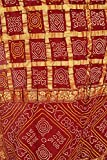 Exotic India Hot-Chocolate Bandhani Gharchola Sari From Gujarat With golde - Red