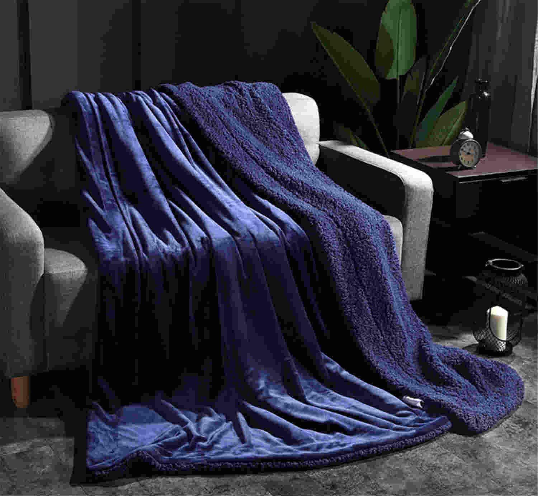 ソリッドカラーブランケットラムカシミア厚くないフェードベッド150 * 200CMソフト暖かいダブル秋冬ホームふわふわのベッドベンチラージリバーシブルマイクロファイバー  Blue B07HVZF17L