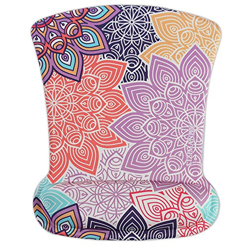 Cheliz Memory Foam Mouse Pad Mat with Wrist Rest(Colorful Petals)