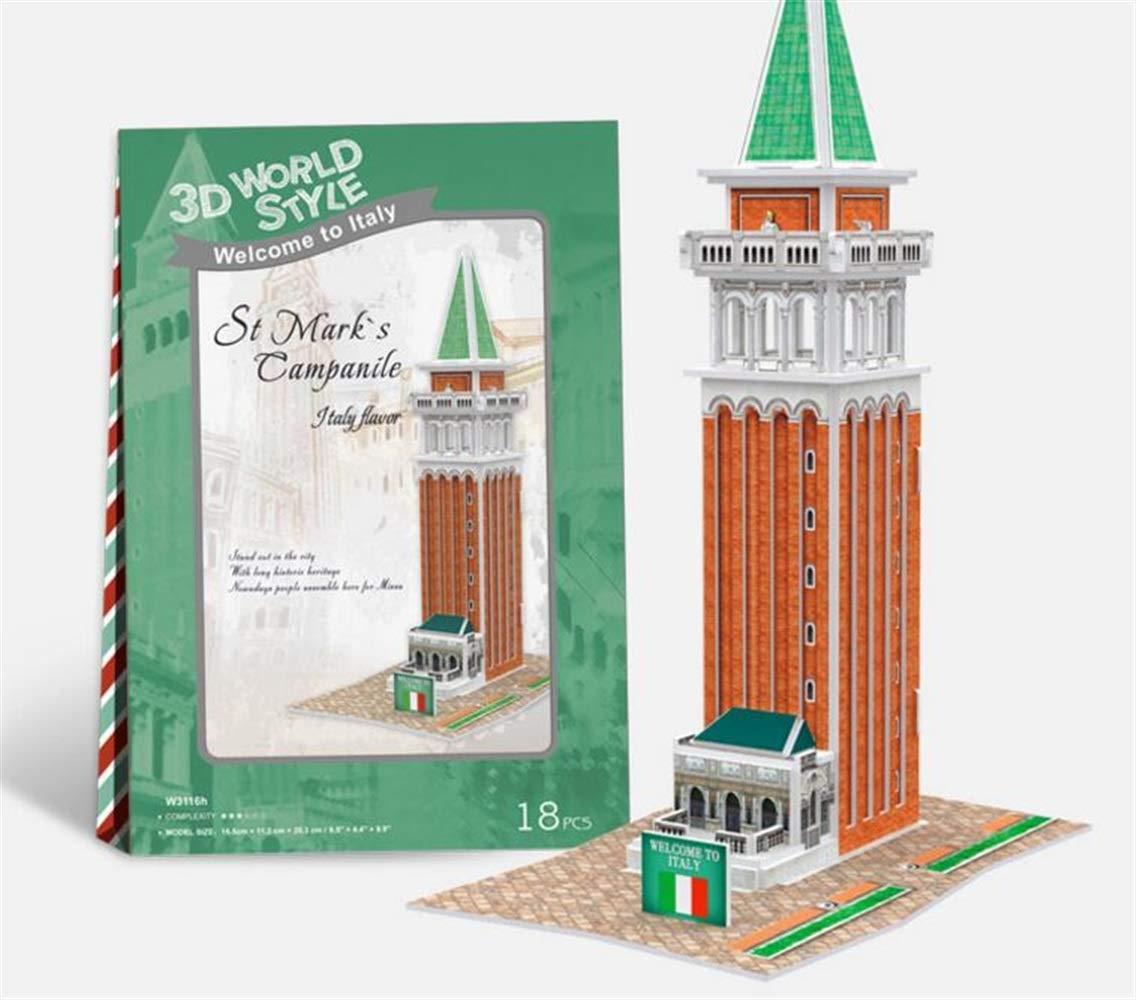 Divertente gioco di puzzle giocattolo Puzzle creativo di carta 3D Giocattolo precoce di apprendimento Regali fantastici per i bambini (Campanile di San Marco) GaGadot