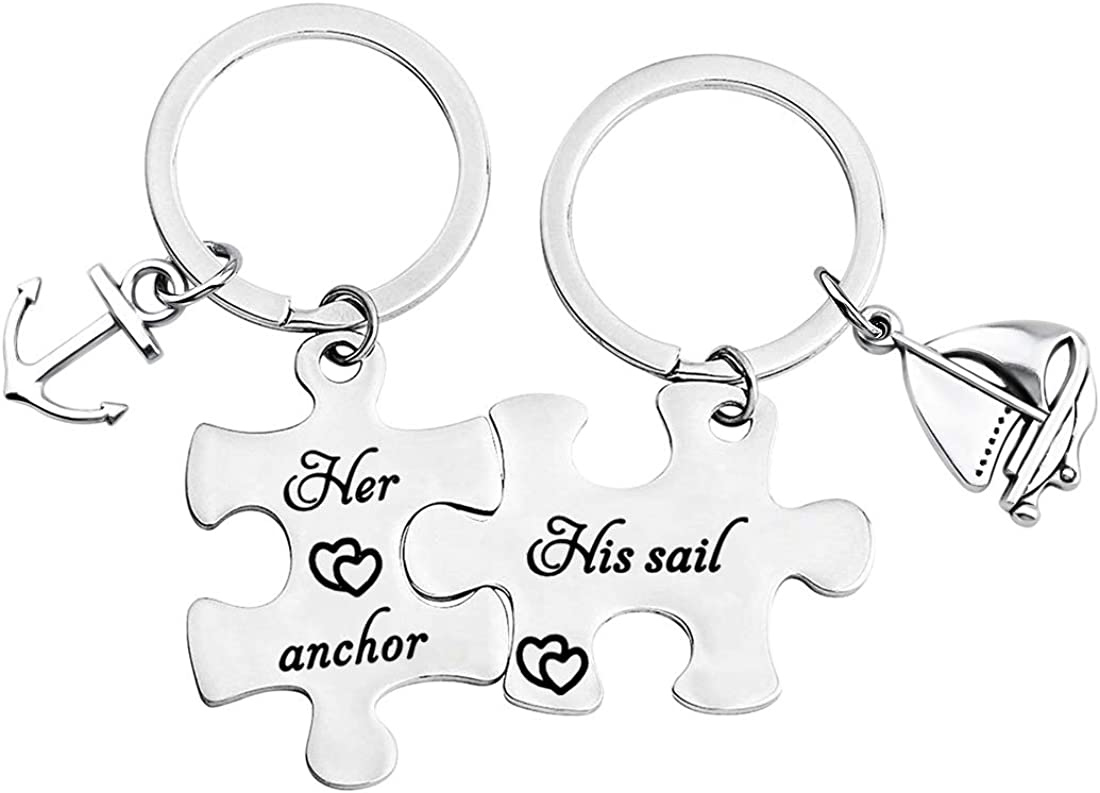 MYOSPARK His Sail Her Anchor Puzzle Piece Matching Couple Keychain Set with Sailboat Anchor Charms His and Her Jewelry Nautical Wedding Anniversay Valentines Gift