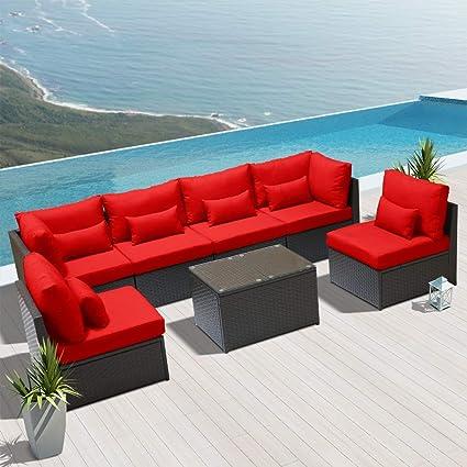 Amazon Com Dineli Outdoor Sectional Sofa Patio Furniture Wicker
