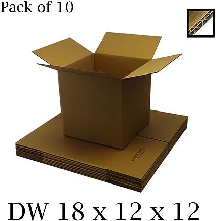 10 cajas de cartón de doble pared, color marrón, para envíos postales, correos y almacenamiento. Contenedores