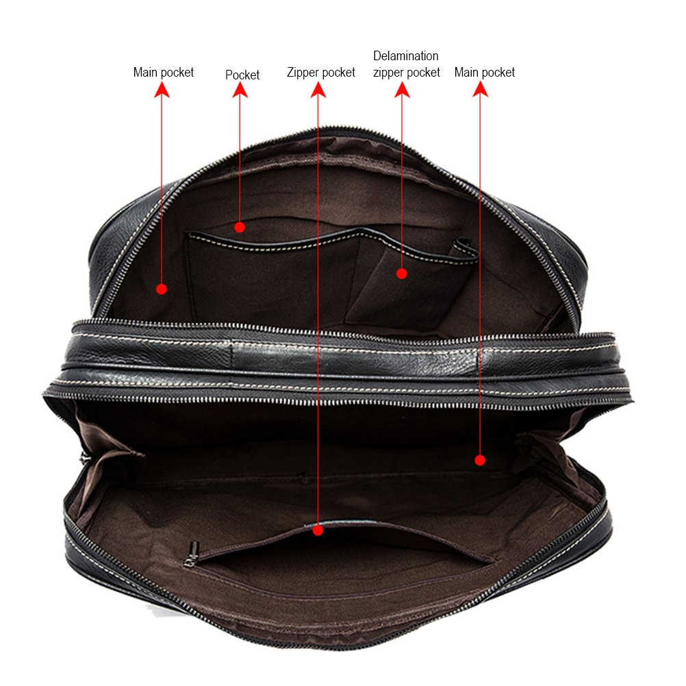Zhuhaitf Large capacity Handbag Business Briefcase PU Leather Messenger Bag,Black