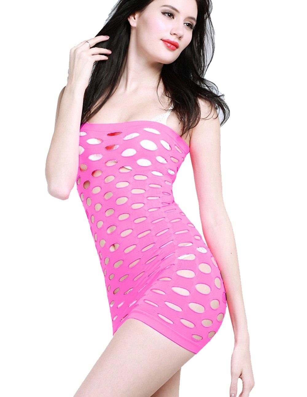 Ropa interior sexy, ropa de rojo de piezas piezas de de mujer, abrir archivo burlarse de camisón de cadera abierto bolsa de esqueleto apretado, revestimiento ajustado perfecto (Color : Rose rosado) c916ee